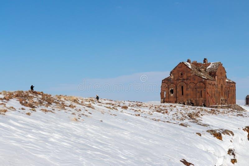 Historiska Ani Ruins och vinterlandskap, Kars, Turkiet royaltyfri fotografi