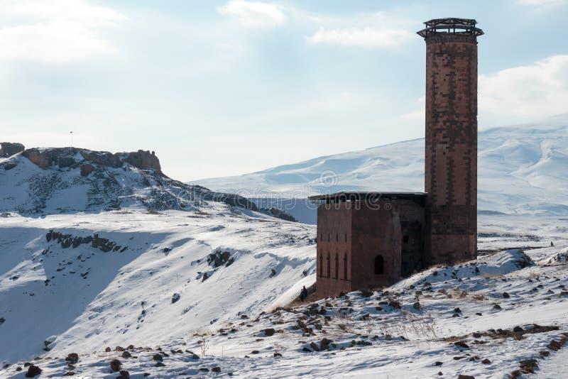 Historiska Ani Ruins och vinterlandskap, Kars, Turkiet fotografering för bildbyråer