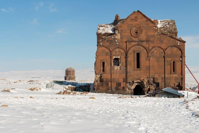Historiska Ani Ruins och vinterlandskap, Kars, Turkiet royaltyfria foton