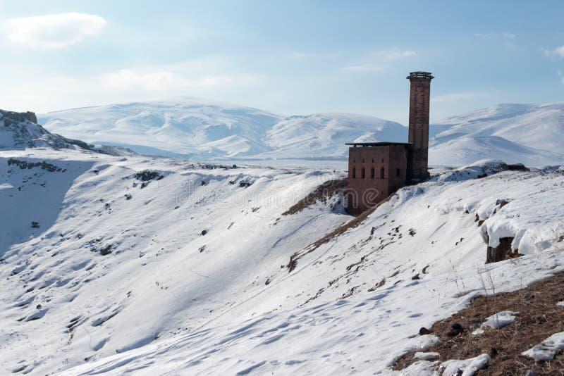 Historiska Ani Ruins och vinterlandskap, Kars, Turkiet royaltyfri foto