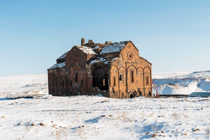 Historiska Ani Ruins och vinterlandskap, Kars, Turkiet royaltyfri bild