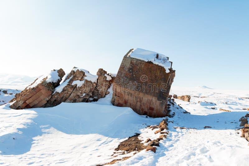 Historiska Ani Ruins och vinterlandskap, Kars, Turkiet arkivfoto