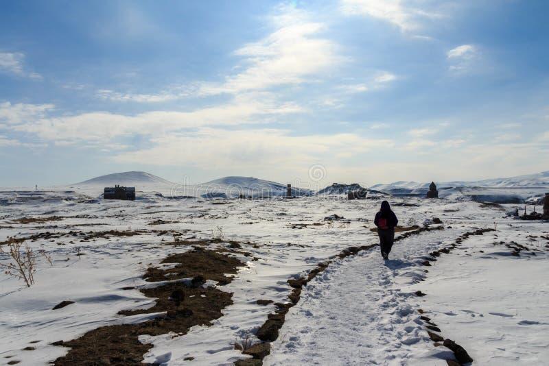 Historiska Ani Ruins och vinterlandskap, Kars, Turkiet, Februari 2017 arkivfoton