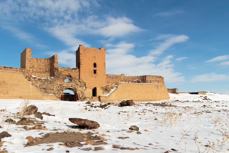 Historiska Ani Ruins och vinterlandskap, Kars, Turkiet, Februari 2017 royaltyfri foto