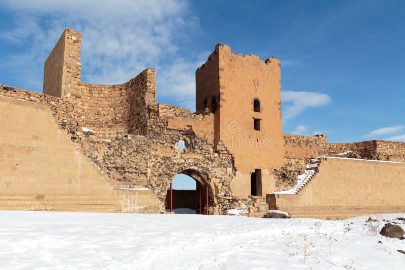 Historiska Ani Ruins och vinterlandskap, Kars, Turkiet, Februari 2017 royaltyfria foton