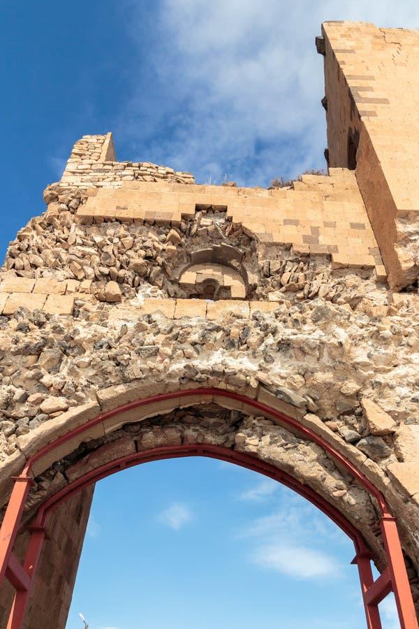 Historiska Ani Ruins och vinterlandskap, Kars, Turkiet, Februari 2017 arkivbild