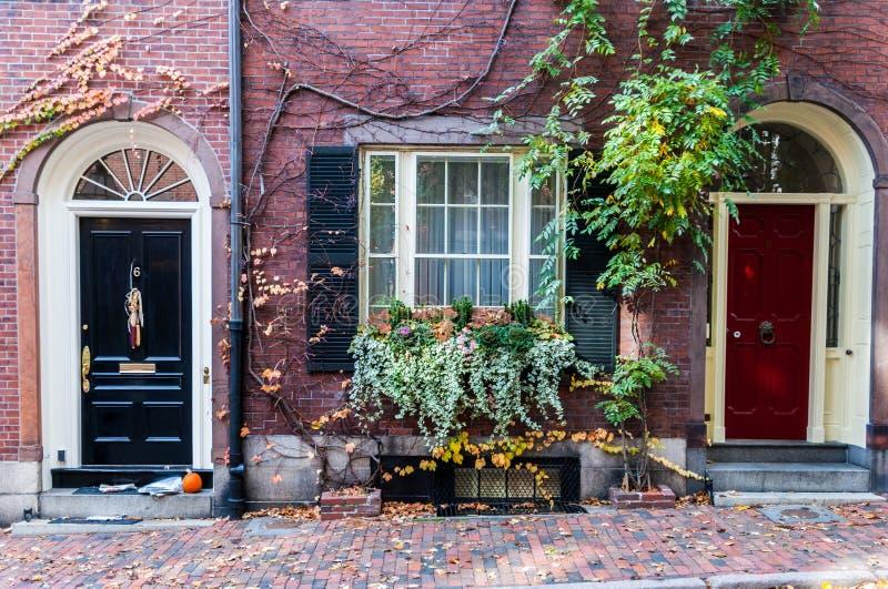 Historiska Beacon Hill av Boston, Massachusetts arkivbilder