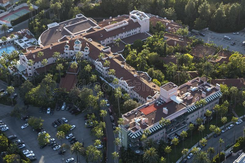 Historiska Beverly Hills Hotel Aerial royaltyfri foto