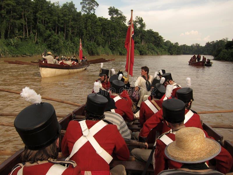 Historiska brittiska flottor på fartyg på floden royaltyfri fotografi