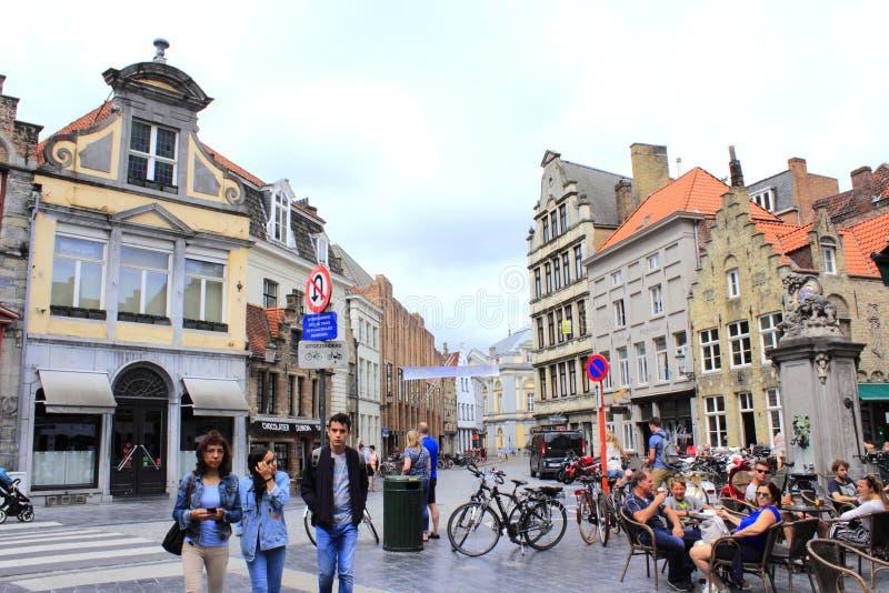 Historiska Bruges Belgien arkivfoto