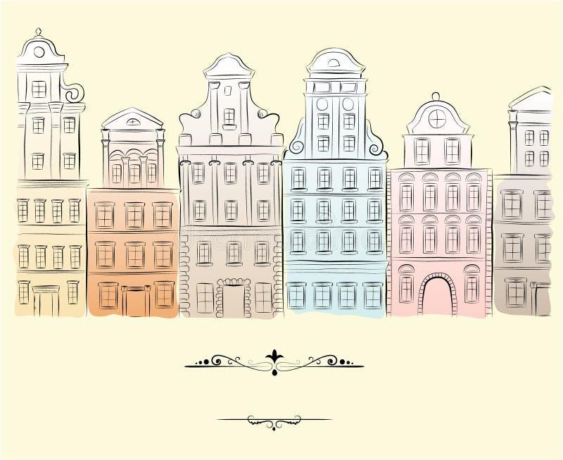 historiska byggnader royaltyfri illustrationer