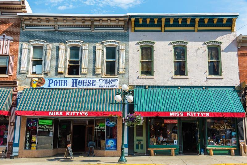 Historiska byggnader i Deadwood, SD royaltyfri bild