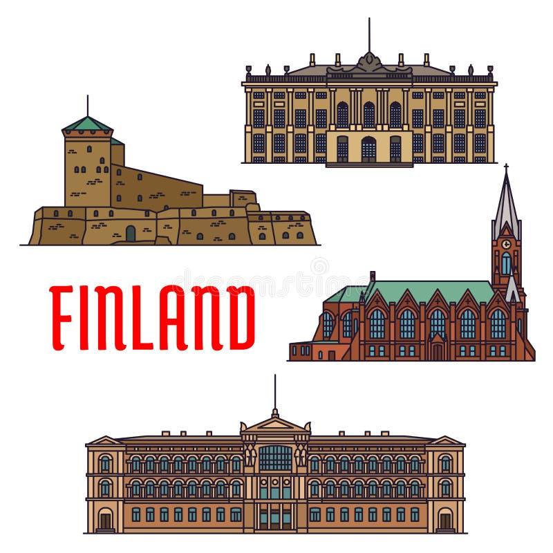 Historiska byggnader och arkitektur av Finland royaltyfri illustrationer