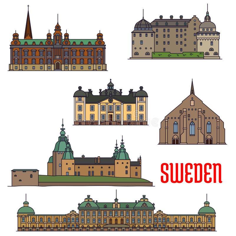 Historiska byggnader och arkitektur av Sverige stock illustrationer