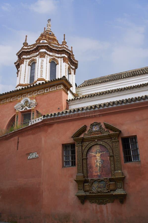 Historiska byggnader och monument av Seville, Spanien Spanska arkitektoniska stilar av gotiskt catalina santa fotografering för bildbyråer