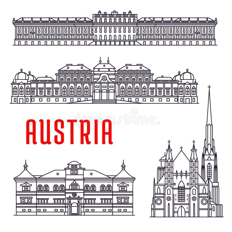 Historiska byggnader och sighter av Österrike vektor illustrationer