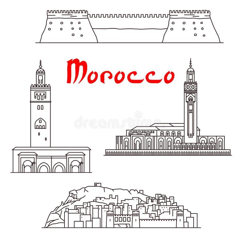 Historiska byggnader och sighter av Marocko royaltyfri illustrationer