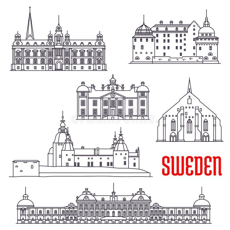 Historiska byggnader och sighter av Sverige stock illustrationer