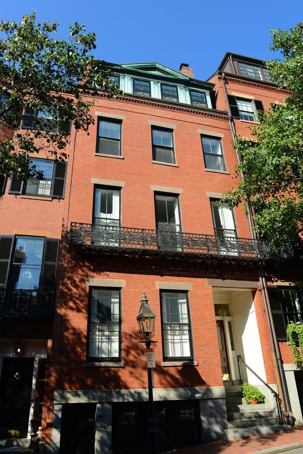 Historiska byggnader på Beacon Hill, Boston, USA arkivbild