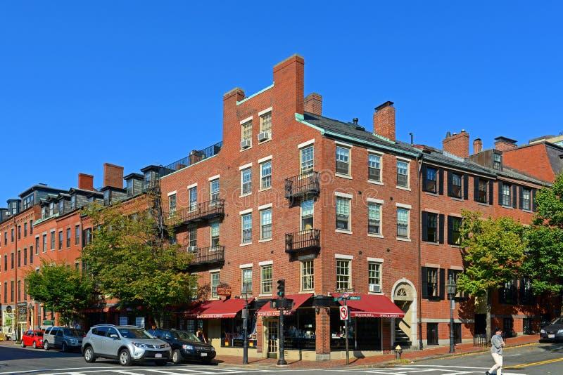 Historiska byggnader på Beacon Hill, Boston, USA royaltyfria bilder
