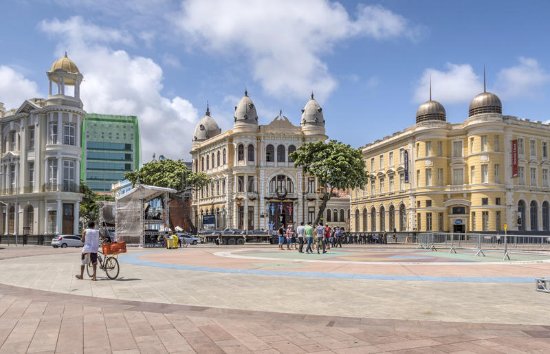 Historiska byggnaderna av Recife i Pernambuco, Brasilien med dess royaltyfri foto