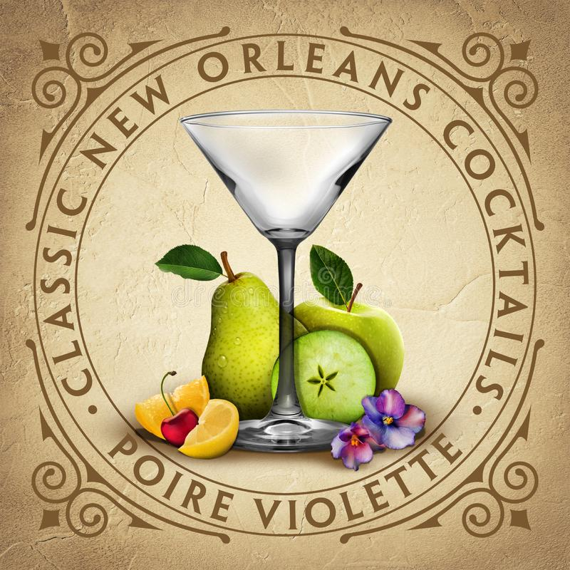 Historiska Iconic klassiska New Orleans coctailar stock illustrationer