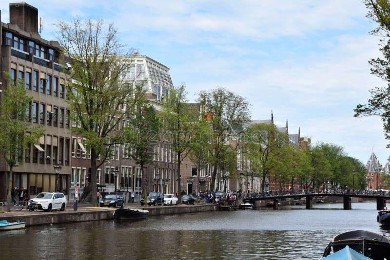 Historiska kanaler av Amsterdam, Holland, Nederländerna fotografering för bildbyråer