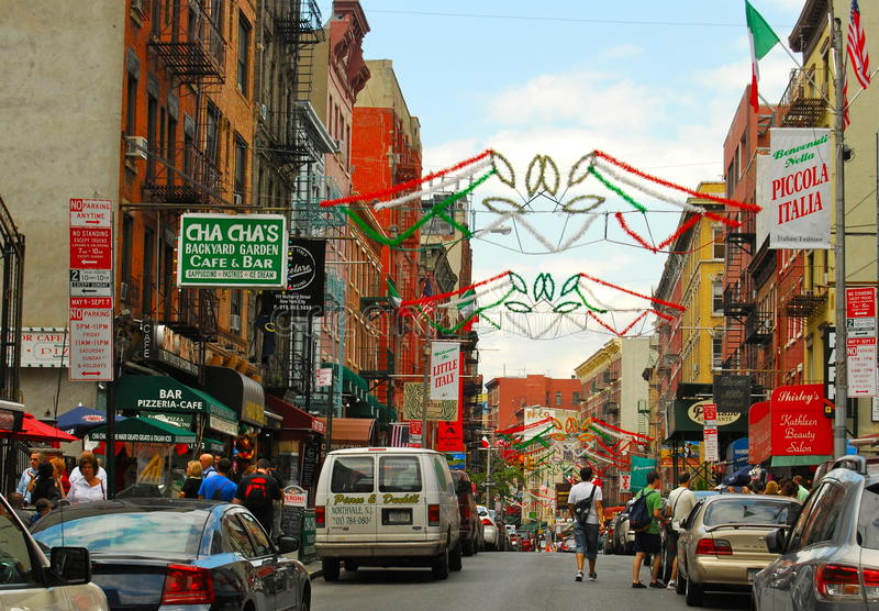 Historiska lilla Italien i Lower Manhattan, NYC arkivbilder
