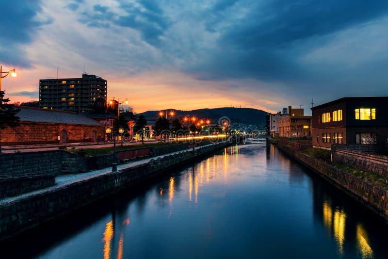 historiska Otaru kanaler på skymning, Hokkaido royaltyfri fotografi