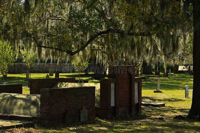 Historiska Savannah Cemetery Established i 1750 royaltyfria bilder