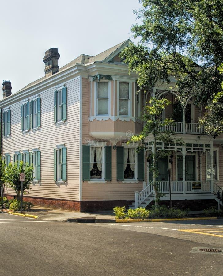 Historiska Savannah Georgia Pink House royaltyfri fotografi