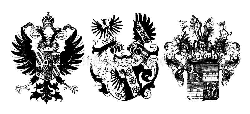 historiska sköldar royaltyfri illustrationer