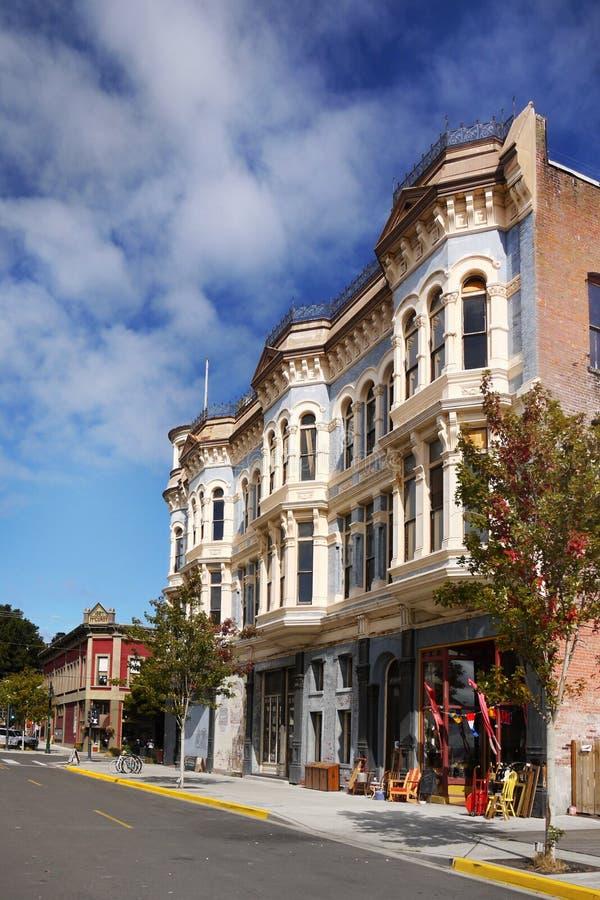Historiska viktorianska byggnader, port Townsend, Washington, USA arkivfoton