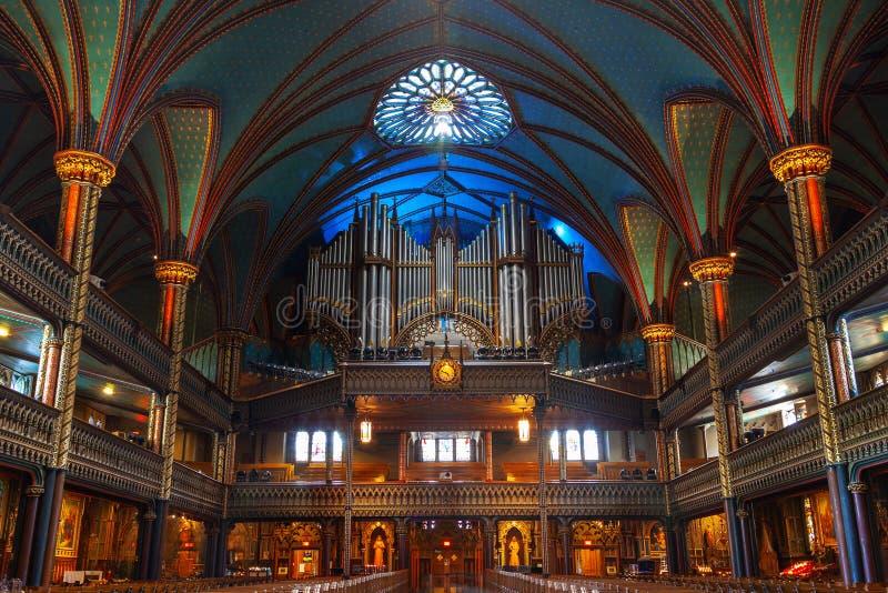 Historiskt Casavant organ på Notre Dame Basilica, Montreal arkivbilder