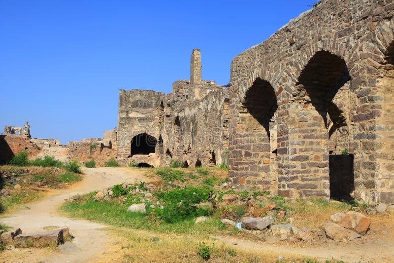 Historiskt Golkonda fort i Hyderabad Indien arkivfoton