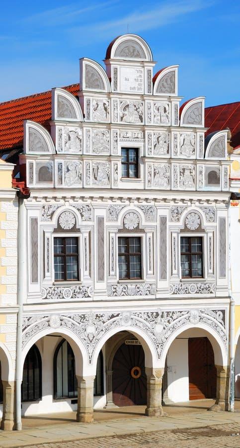 Historiskt hus i Telc arkivfoton
