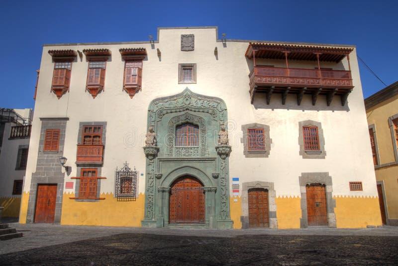 historiskt hus Las Palmas spain för canaria gran arkivfoto