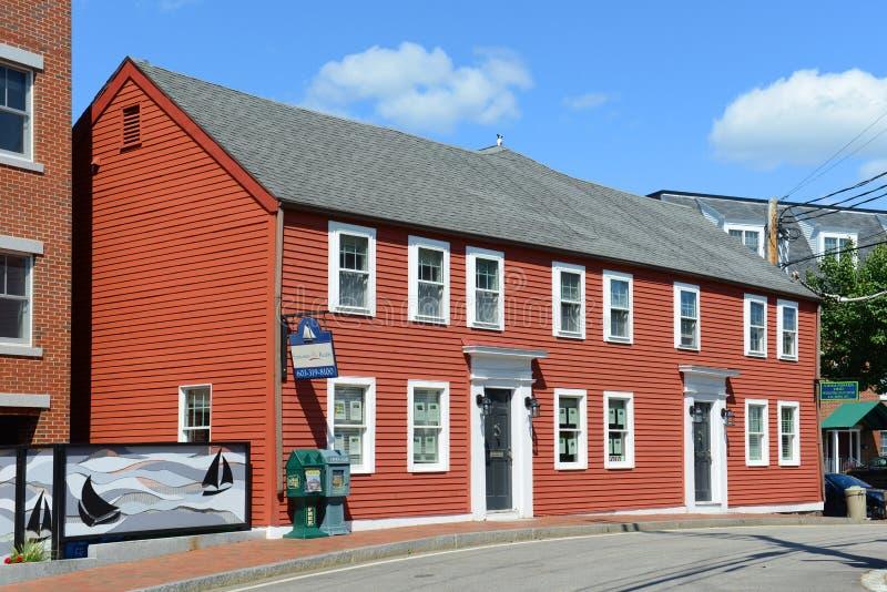 Historiskt hus, pilbågegata, Portsmouth, New Hampshire arkivbilder