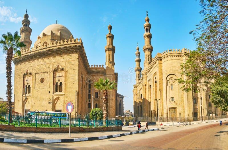 Historiskt komplex av Sultan Hassan och för al-Rifa 'I moskéer, Kairo arkivbild