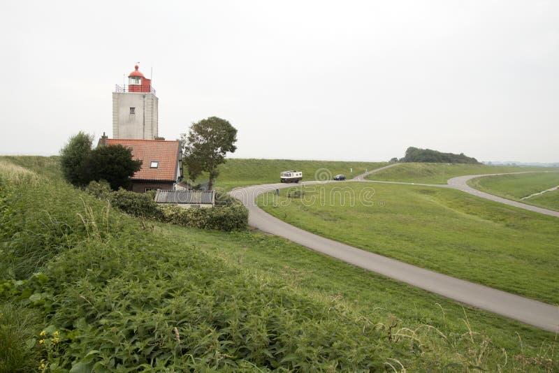 Historiskt ljust hus De Ven i Oosterdijk royaltyfri foto