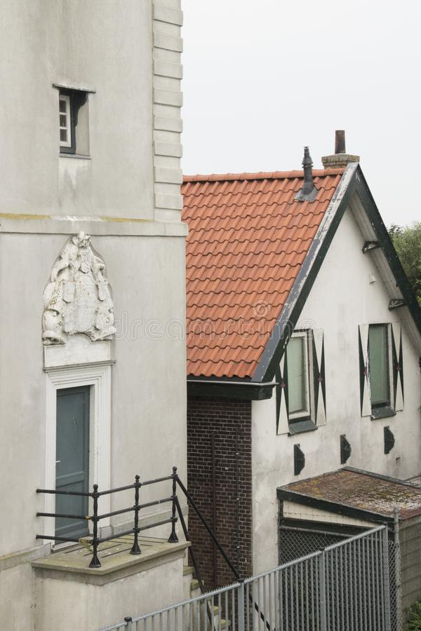 Historiskt ljust hus De Ven i Oosterdijk arkivbilder