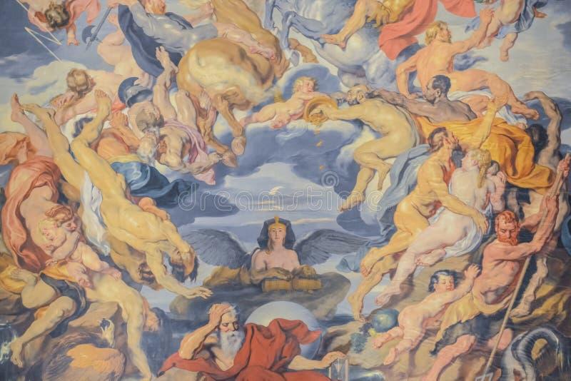 Historiskt museum, Wien, ?sterrike 02 02 2019 En freskom?lning p? ett tak p? en ing?ng till det Altes museet i den centrala korri royaltyfria foton