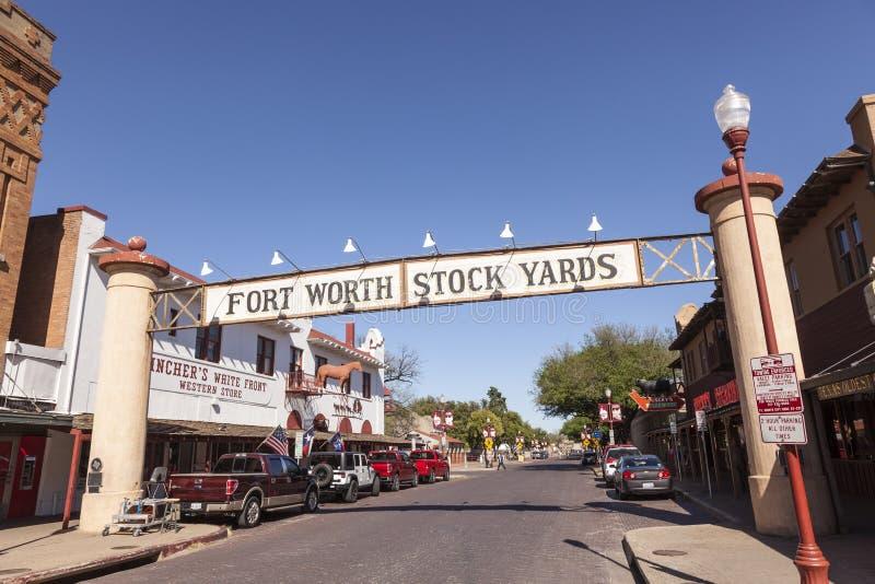 Historiskt område för Fort Worth kreatursinhägnader TX USA arkivfoto
