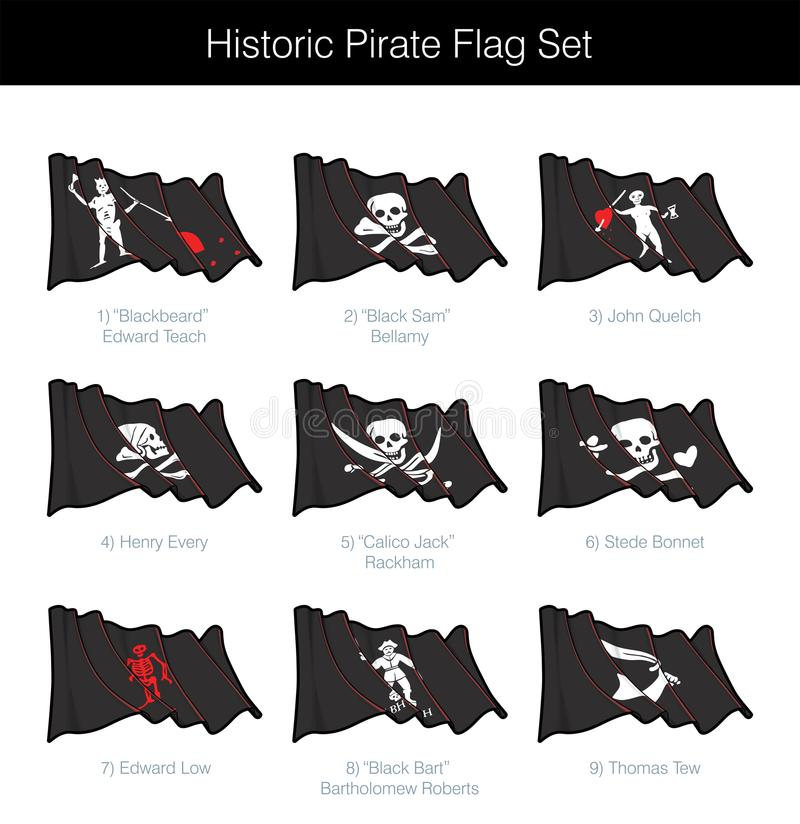 Historiskt piratkopiera vinkande Jolly Roger Set stock illustrationer
