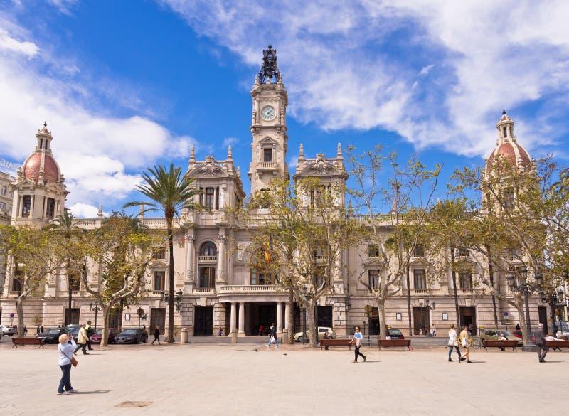 Historiskt stadshus i Valencia, Spanien arkivfoton