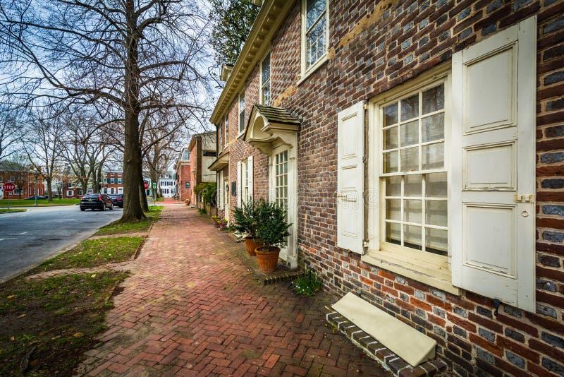 Historiskt tegelstenhus i Dover, Delaware fotografering för bildbyråer
