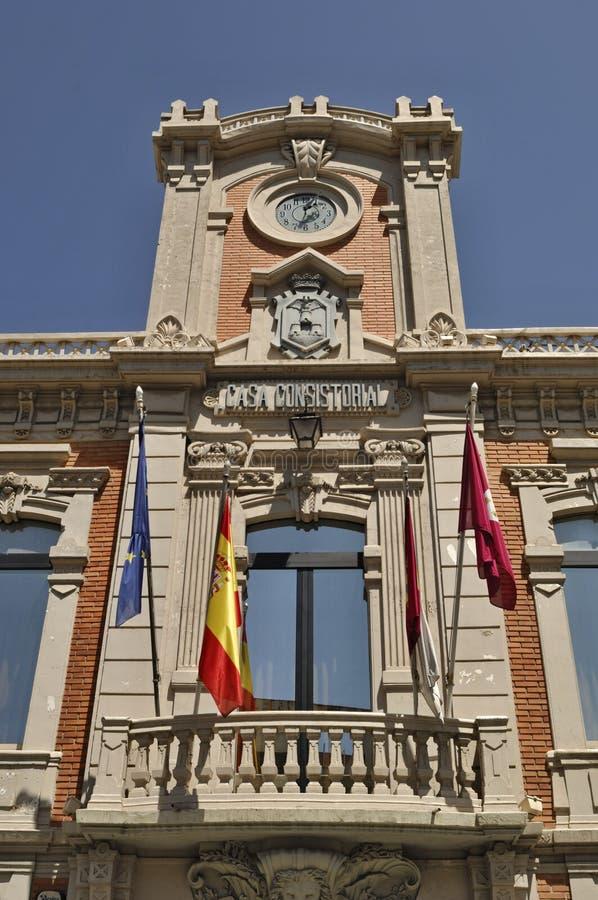 Historiskt townhalltorn i Albacete - Spanien arkivfoton