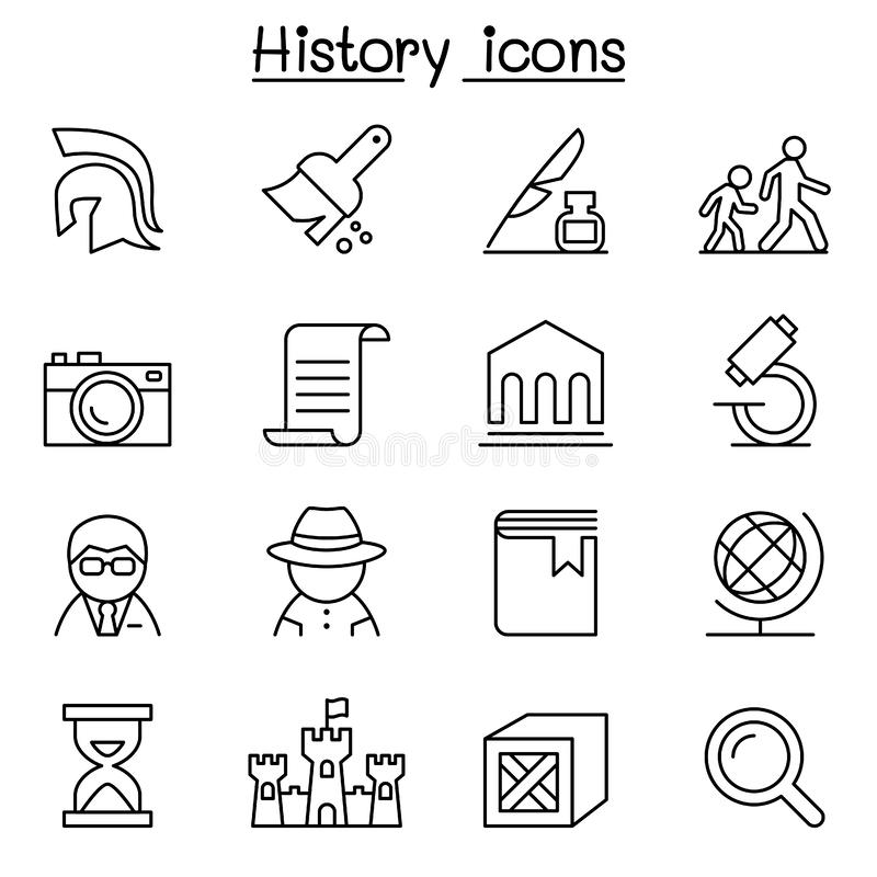 Download History & Archeology Icon Set In Thin Line Style Stock Vector - Illustration of education, clock: 86351196
