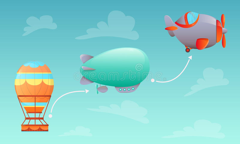 History of Aviation. Aerostat, airship and aircraft on sky background. Vector illustration stock illustration