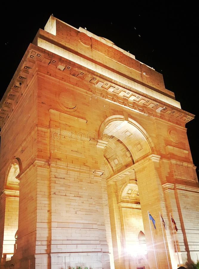 HISTORY OF BRAVERIES. India gate at 0000 hrs stock photo